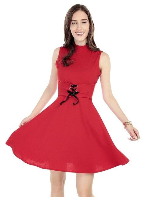 68cd8f73f0 Vestido liso Amandine rojo