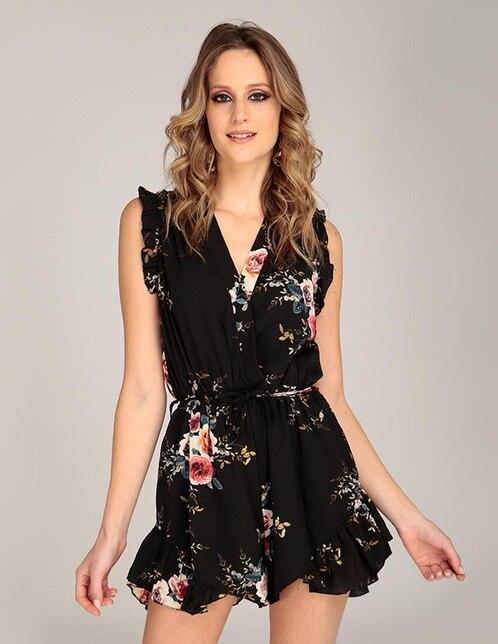19e0036be0 Vestido Amandine negro con diseño floral casual