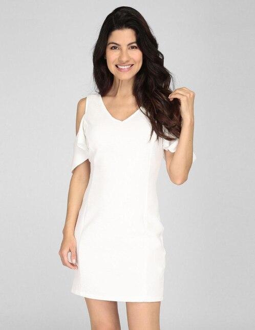 3a27772c7f Vestido Amandine blanco acanalado casual
