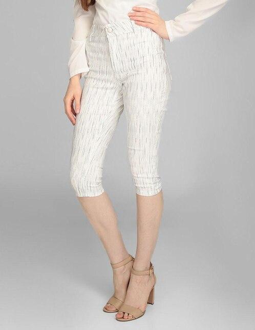 6f2fb5f533 Pantalón capri Frappe corte skinny blanco a rayas