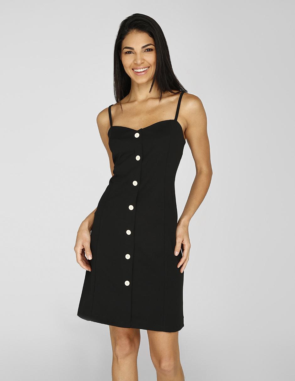 be5720e09f Vestido casual Amandine negro con botones