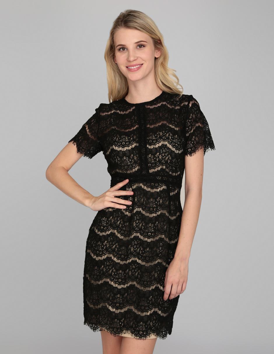 067073e365 Vestido formal Amandine negro de encaje